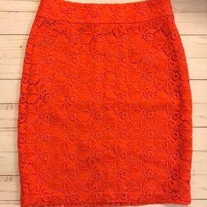 Anne Taylor Lace pencil skirt coral 2p